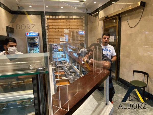 محافظ کانتر- محافظ شیشه ای میز کار رستوران هانی